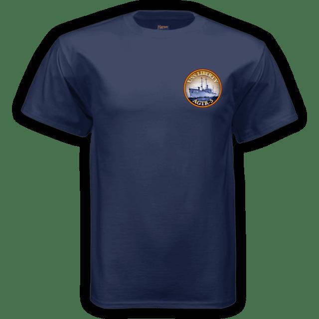 Erasing the Liberty t-shirt navy front